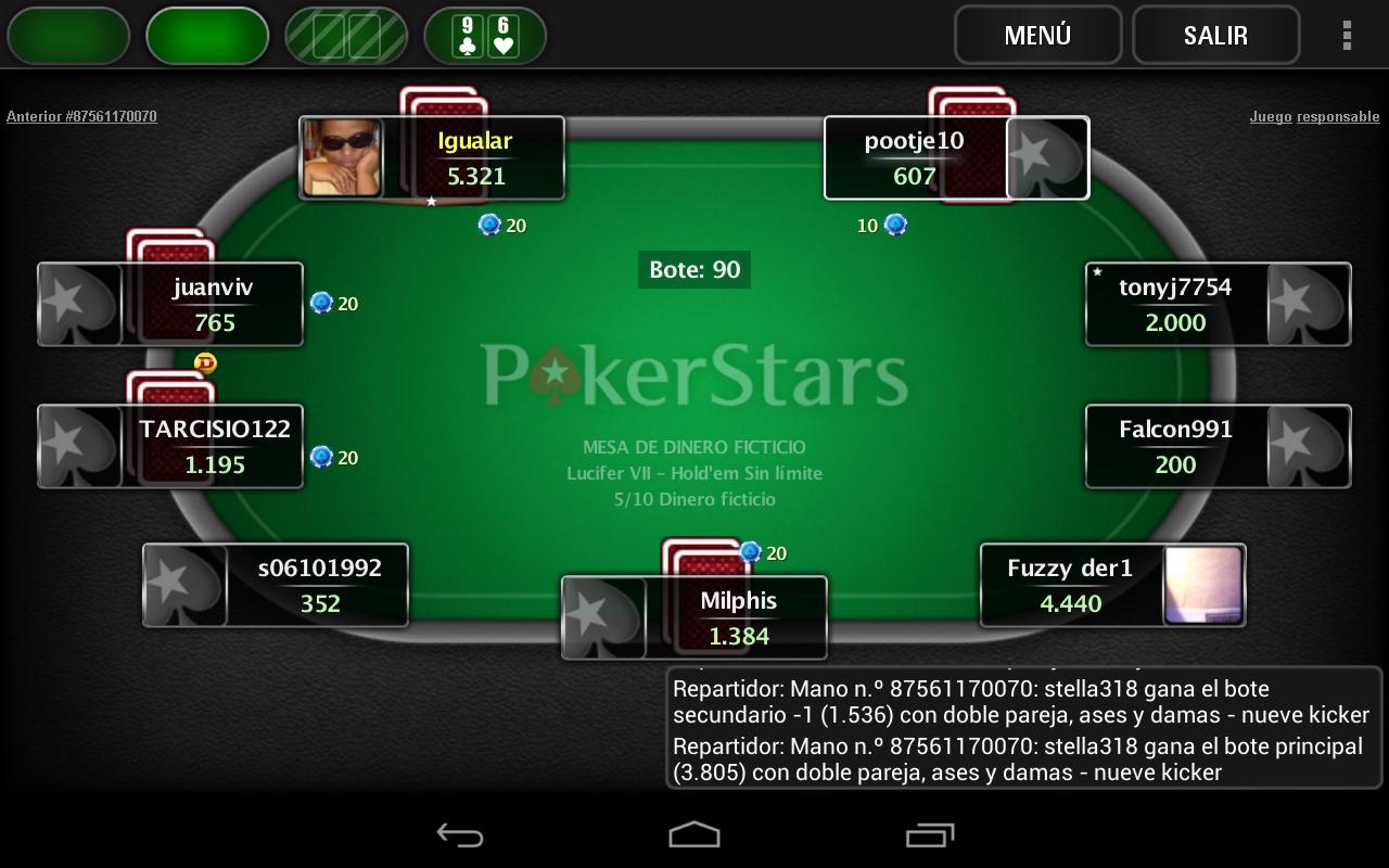 captura de pantalla con varias mesas