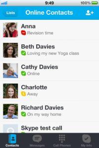 imagen de los contactos dentro de skype