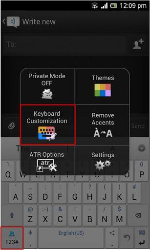 menú de opciones de Adaptxt Keyboard