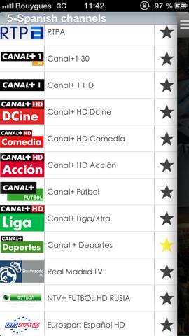 imagen de canales españoles en la aplicacion signalcast