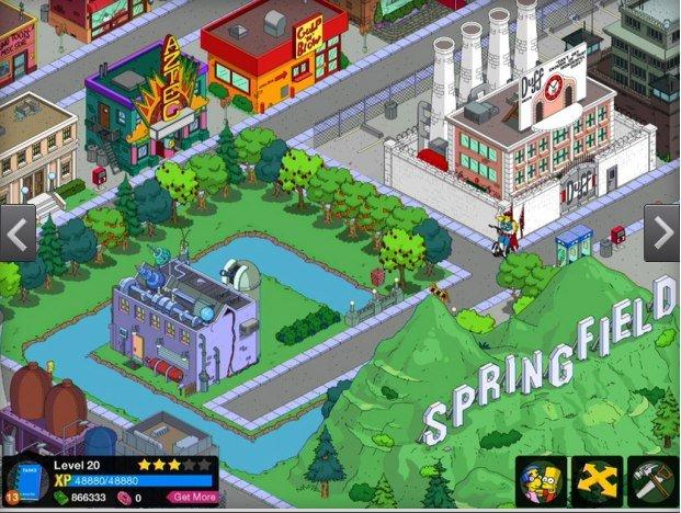 captura del juego springfield iOS