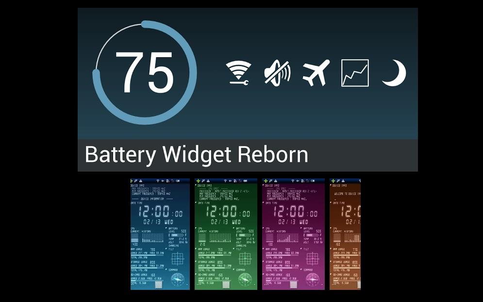 portada de widget de batería y fondo animado