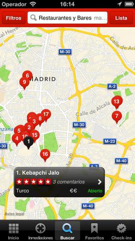 captura de yelp, mapa