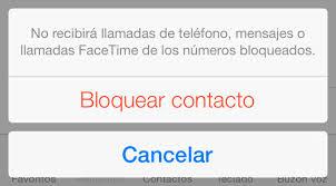 mensaje de bloqueo