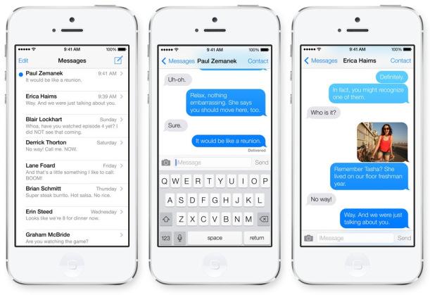 mensajes, llamadas, contactos, iOS7