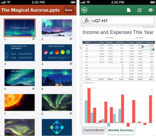 Power Point y Excel en iPhone