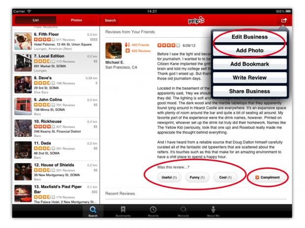 Yelp para iOS